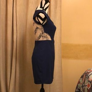 Solemio Dresses - Beautiful Navy Blue and Ivory Lace cut out dress